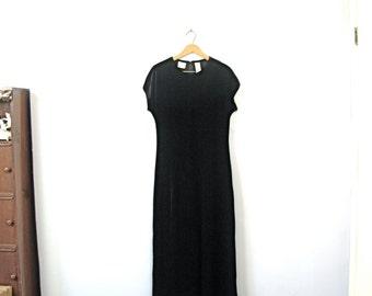 Vintage 90's black velvet long dress, black maxi dress, size medium