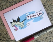dragon stork fairy tale baby shower thank you cards for girl (blank or custom printed inside) with pastel pink envelopes - set of 10