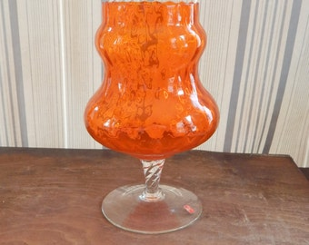 Vintage Glass Vase Orange Made in Italy Twisted Swirled Art Glass Vase 60's Mid Century Modern Decor