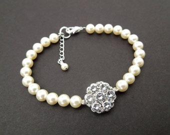 Bridal Pearl Bracelet Ivory Swarovski Pearls Rhinestone Pearl Bracelet Bridal Bracelet Bridal Rhinestone Bracelet Delicate Bracelet LUCY