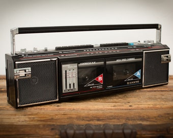 Sanyo Stereo Radio/Double Cassette Recorder Boombox, Model MW705, Vintage 80s