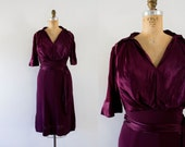 1940s Ruby Rose satin day dress / 40s wiggle beauty