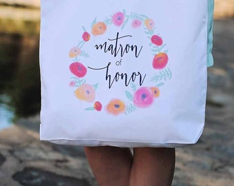Maid of Honor Floral Tote Bag, Matron of Honor Tote Bag, Flower Girl Tote Bag, Bridesmaid Gifts, Wedding Party
