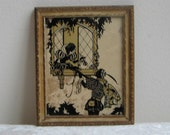 Vintage Silhouette Man Woman Courting Reverse Painted Wall Art Print in Gold Wood Frame By Reliance Picture Frame Co. USA, Romeo and Juliet