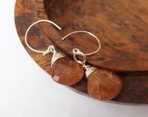 Sunstone earrings, orange beaded earrings, sterling silver, sunstone briolettes, drop earrings, wired sunstone, wear everyday, modern