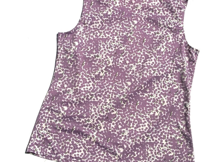 70s lavender tank top large L 1970s vintage polyester floral flower print purple lilac fields kitsch preppy womens top blouse geek chic nice