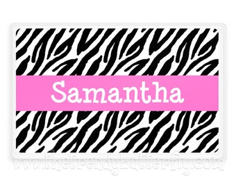 Personalized PlaceMat, Zebra Hot Pink Personalized Place Mat, Girls Zebra Personalized Gift, Table Placemats, Monogram Personalized Gifts