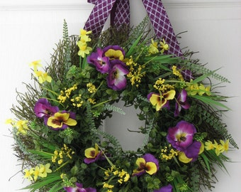 Summer Wreath, Pansies, Door Wreath, Outdoor Door Wreath, Front Door Wreath, Front Door Summer Wreath