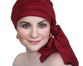 Red Gold Turban Head Wrap Alopecia Chemo Head Scarf Jersey Knit Hat/Scarf Set, Hat & Scarf Set 78-71