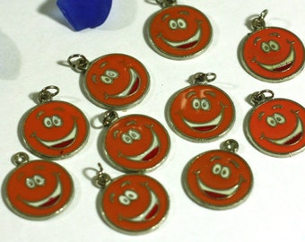 10 orange smiley face enamel charms - Bracelet, Necklace Charms - Jewelry Supplies - Bracelet Making