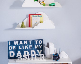 Cloud Shelf for Kids Room Baby Nursery Wall Decor Hanging Cloud Shelves - Decorations for Bedroom Wall Artwork Clouds (Item - CLD500)
