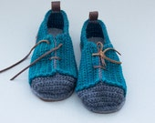 House Shoes Sneakers with Leather Sole in turquoise green and dark grey (no tongue)  - all adult shoe sizes US 4-12 EUR 35-46