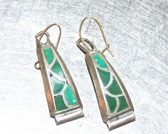 vintage turquoise earrings - 1960s-70s silver/turquoise earrings