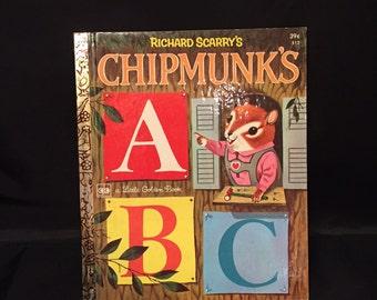 Vintage Little Golden Book Richard Scarry's Chipmunk's ABC  Roberta Miller 1972