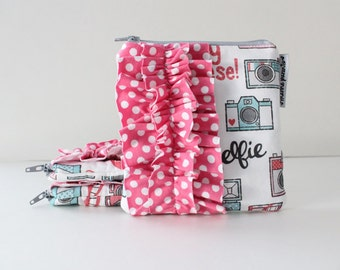 square ruffle zipper pouch --  camera happy instagram inspired
