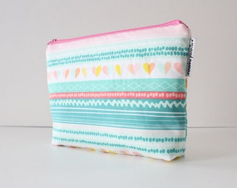 project bag -- striped color crush hearts