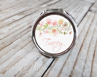 Bridesmaid Gift - Personalized Compact Mirror - Petite Vines