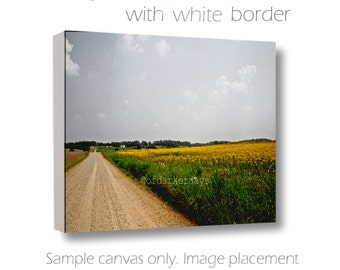 Country Road Photo-Rural Wall Art-Horizontal-Canvas Wrap Art-Nature Photo-Brown & Yellow Canvas-Dirt Road Photography-Farmhouse Wall Art
