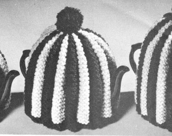 vintage knitting pattern teapot tea cosy cozy pleated ruffle bundle 3 sizes pot cover 1960s printable PDF instant download worsted yarn