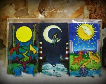 The Moon Card Tarot Magnet Set of 3; Second Series; Morgan-Greer Tarot, Sun & Moon Tarot and Universal Waite Tarot