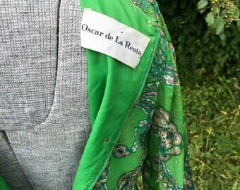 Vintage Oscar de La Renta Gown // 1960s Designer Couture Maxi Dress // Paisley Print Metallic Designer Vintage Dress
