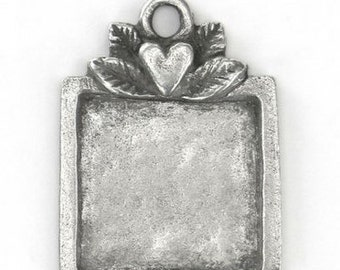 Artisan Pewter Stamping Blank-Square-Impressart-1 1/8x 7/8 inch Quantity 1-Metal Supply Chick-MSCIAD13031