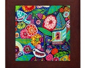 Bird Garden Folk Art Ceramic Framed Tile by Heather Galler - Bird Feathers  Ready To Hang Tile Frame Gift