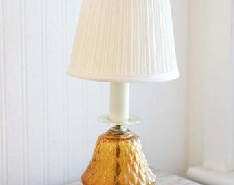 Vintage Table Lamp, Amber Glass Vanity Lamp, Bedside Light, 1970s Retro Lighting, Ladies Bedroom Lamp, Bohemian Decor, Boho