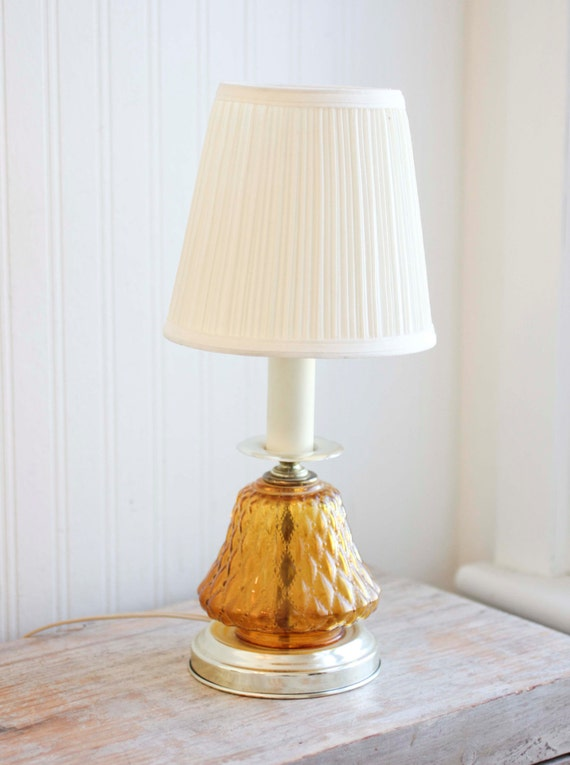 Vanity Desk Lamp : Amber Glass Vintage Table Lamp Vanity Lamp Bedside by MollyFinds