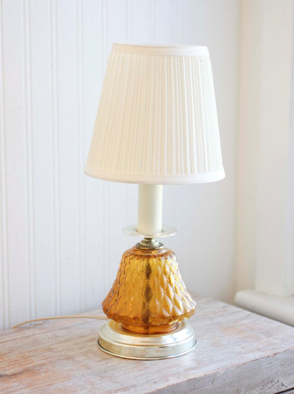 Vanity Lamps Vintage : Amber Glass Vintage Table Lamp Vanity Lamp Bedside by MollyFinds