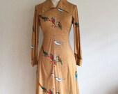 1970s Ochre BIRDS A-Line Bias Cut Dress XS/S
