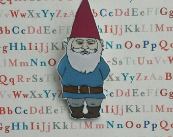 Gnome illustrated brooh