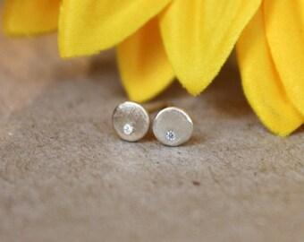 tiny gold studs, little diamonds, rose gold post earrings, matte finish, high shine