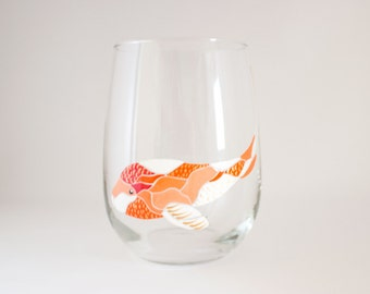 Koi Fish - Mosaic Art - Hand Painted Wine Glass - Mosaic Candle Holder - Koi Art Painting - Fish Wine Glass - Unique Gift Under 50 - Dining