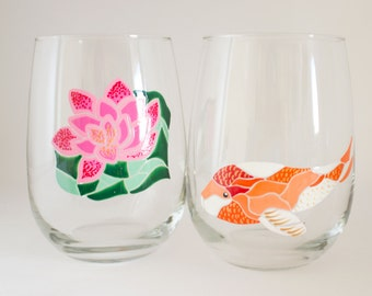 Koi Fish Pond - Hand Painted Wine Glasses - Koi Art - Mosaic Art - Waterlily Painting - Japanese Decor - Dinnerware - Unique Home Accent