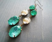 Ocean Jewel Earrings - Green Blue Beige glass crystals in brass
