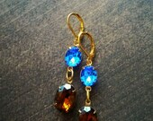 Rhinestone Earrings in golden brass  - Estate Style Jewelry - Blue Sapphire and Topaz Brown - Natural - Earth and Water