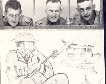 Men in WWII GUARD HOUSE Novelty Studio Arcade Photo Circa 1940s
