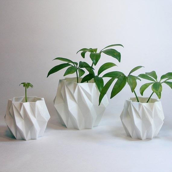 Plastic Planter Flower Pot Set Modern Accessories Mini Cactus