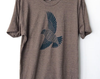 Blue bird T-Shirt Heather Coffee Mens/Unisex