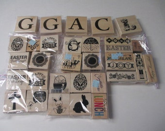 MOUNTED RUBBER STAMPS Blocks - New lot of 33