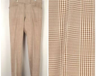 brown and tan check plaid mens golf pants 60s 70s vintage high waist slacks trousers 35x31