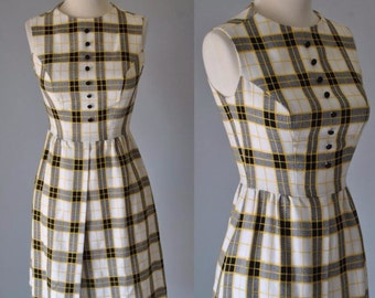 Vintage Dress 60s Plaid Tartan Shift Dress Jerell Black and White Plaid Checkered Dress S M