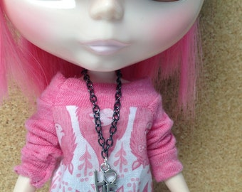 Doll Jewelry Necklace for Blythe Barbie Love Pendant Gunmetal Chain B191