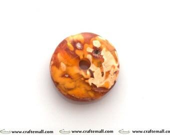 Natural Baltic Amber donut bead - irregular raw form donut milky (8)
