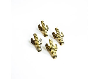 Vintage Brass Cactus Napkin Rings / Set of 4