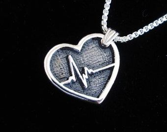 Heartbeat necklace Sterling Silver jewelry pendant Silver necklace Silver pendant Open heart surgery Cardiogram pulse heart necklace  N-212