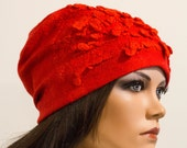 Felt red free form hat soft Chunky light felted silk no size Unique exclusive Regina Doseth handmade in Lithuania EU
