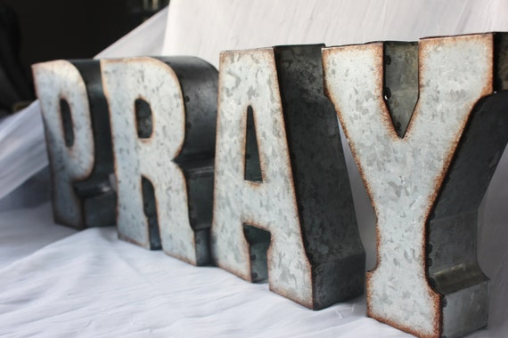pray metal letters spiritual inspiration signs words / church home