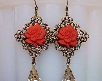 Coral Roses // Gorgeous Vintage Coral Glass Rose Earrings with Crystal Drops, 1940s German Glass Flowers, 1950s Gem, Brass Filigree Art Deco